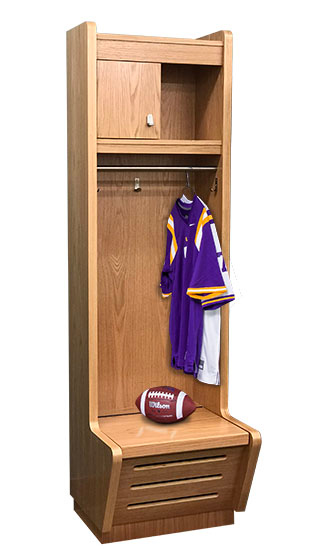 Recruiter Wood Open-Front Sport Lockers - 2-wide with sports gear